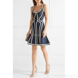 Herve Leger Issaa Zigzag Pointelle Knit  Dress